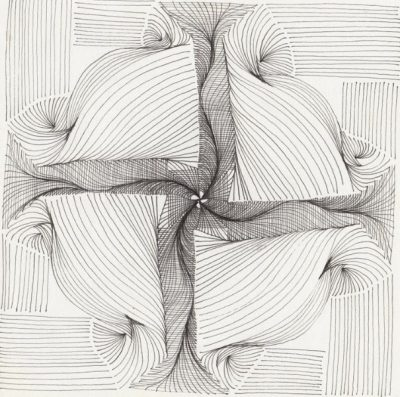 Cheryl Malone, line drawings, ink on paper